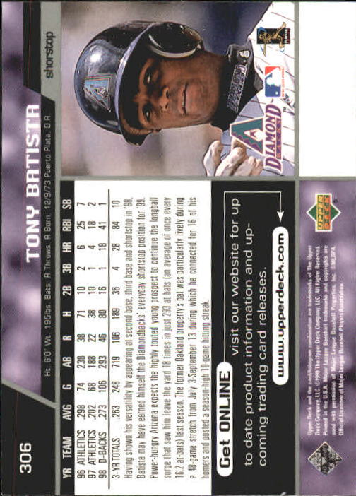 1999 Upper Deck #306 Tony Batista back image