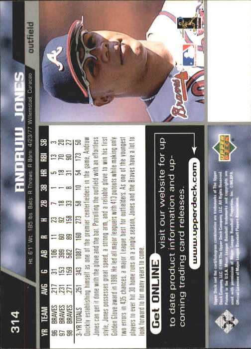 1999 Upper Deck #314 Andruw Jones back image