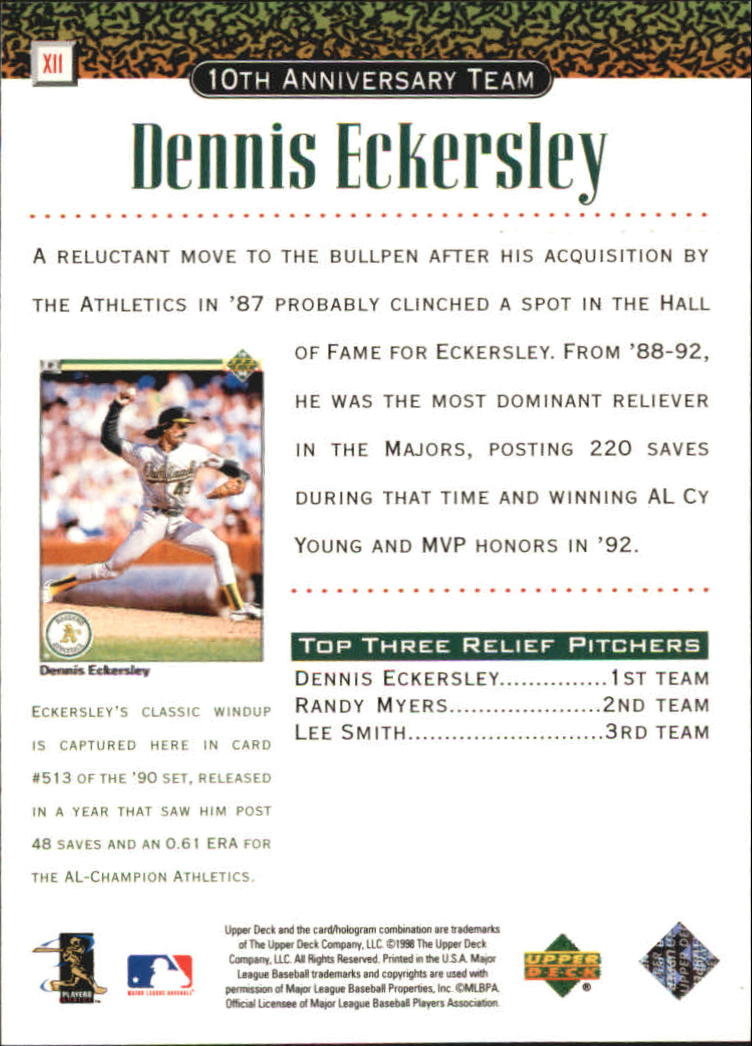 1999 Upper Deck 10th Anniversary Team #X11 Dennis Eckersley back image