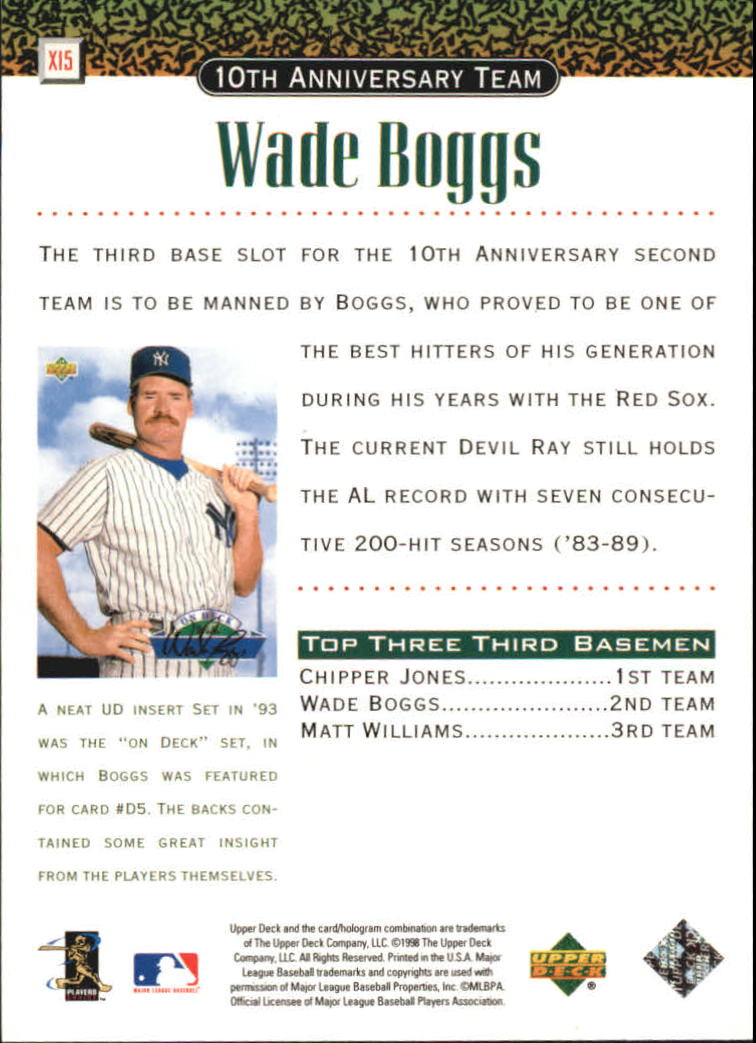 1999 Upper Deck 10th Anniversary Team #X15 Wade Boggs back image