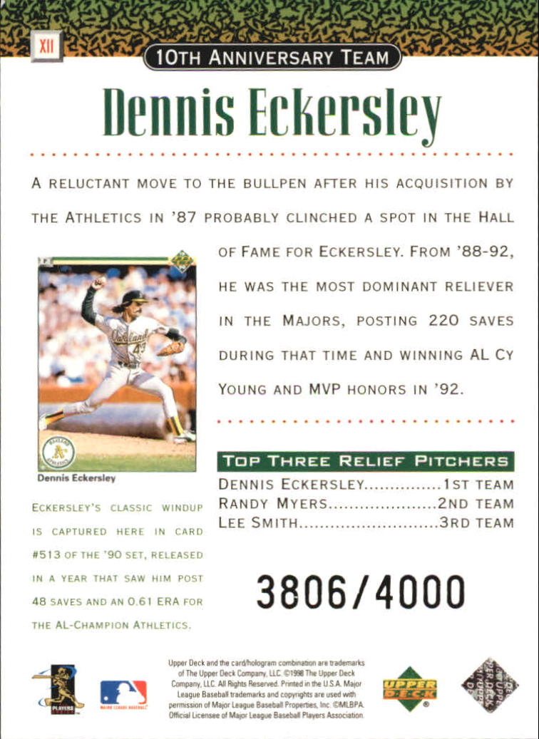 1999 Upper Deck 10th Anniversary Team Double #X11 Dennis Eckersley back image