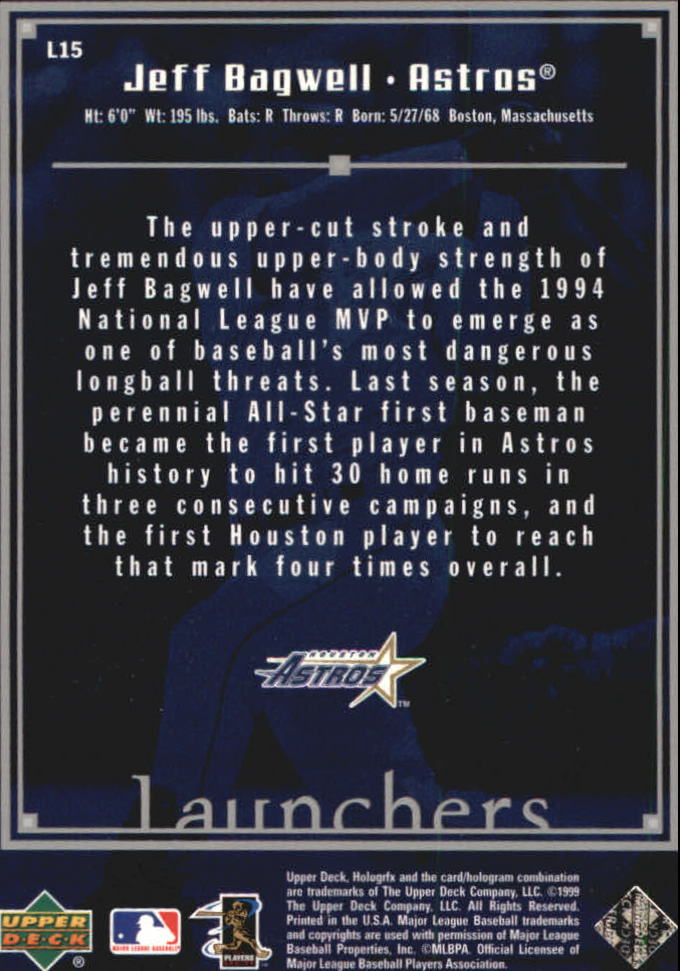 1999 Upper Deck HoloGrFX Launchers #L15 Jeff Bagwell back image