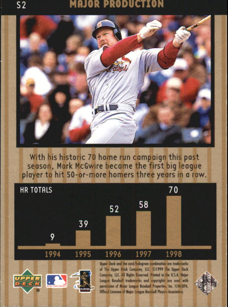 1999 Upper Deck Ovation Major Production #S2 Mark McGwire back image