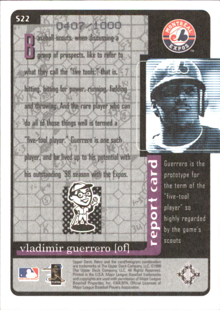 1999 Upper Deck Retro Old School/New School #S22 Vladimir Guerrero back image