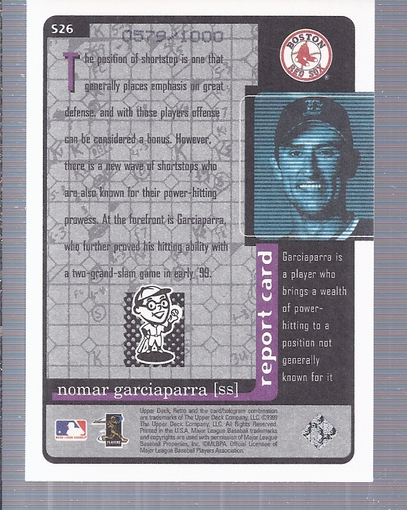 1999 Upper Deck Retro Old School/New School #S26 Nomar Garciaparra back image