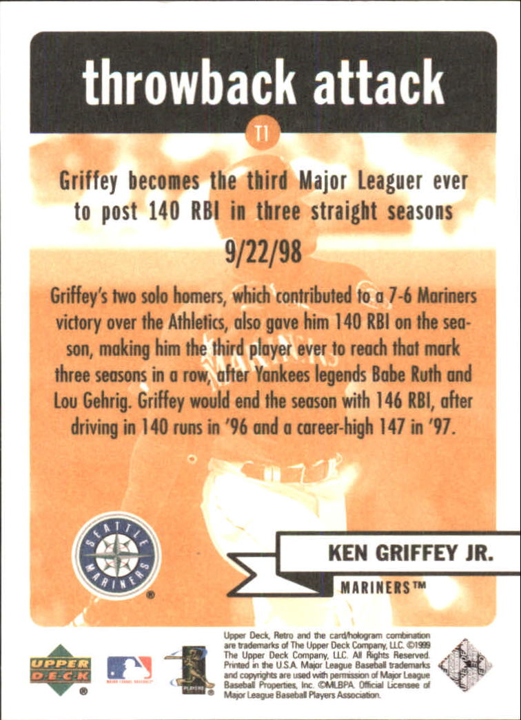 1999 Upper Deck Retro Throwback Attack #T1 Ken Griffey Jr. back image