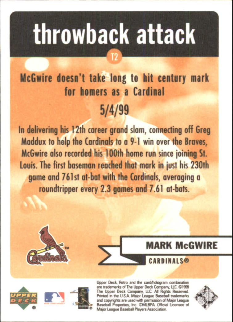 1999 Upper Deck Retro Throwback Attack #T2 Mark McGwire back image