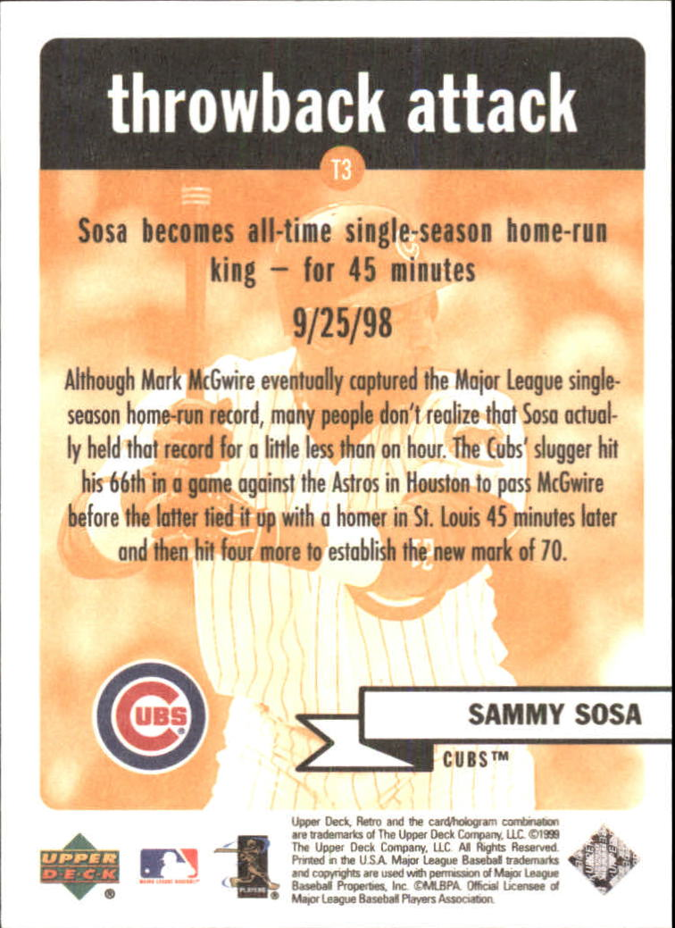1999 Upper Deck Retro Throwback Attack #T3 Sammy Sosa back image