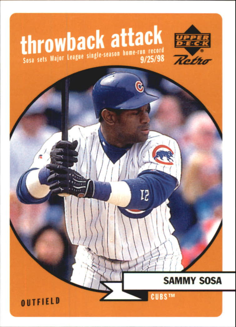 1999 Upper Deck Retro Throwback Attack #T3 Sammy Sosa front image