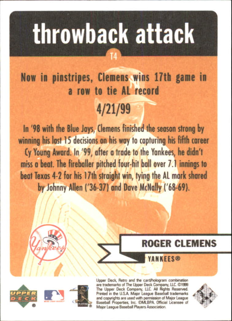 1999 Upper Deck Retro Throwback Attack #T4 Roger Clemens back image