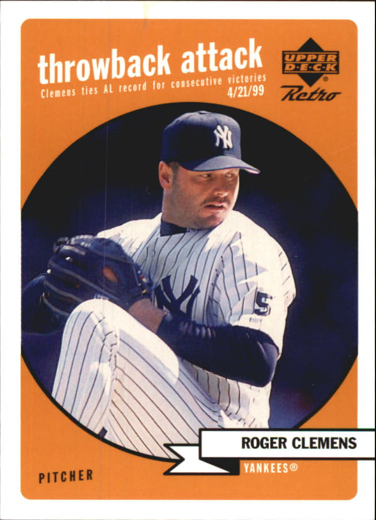 1999 Upper Deck Retro Throwback Attack #T4 Roger Clemens front image