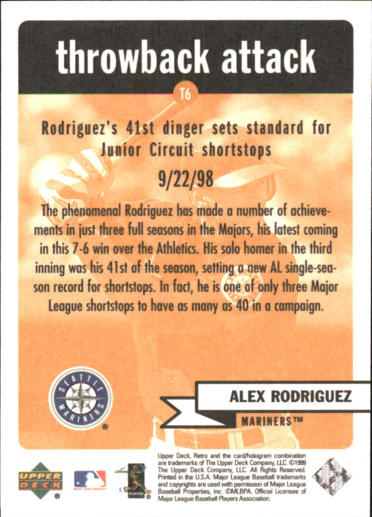 1999 Upper Deck Retro Throwback Attack #T6 Alex Rodriguez back image