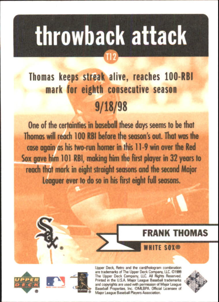 1999 Upper Deck Retro Throwback Attack #T12 Frank Thomas back image