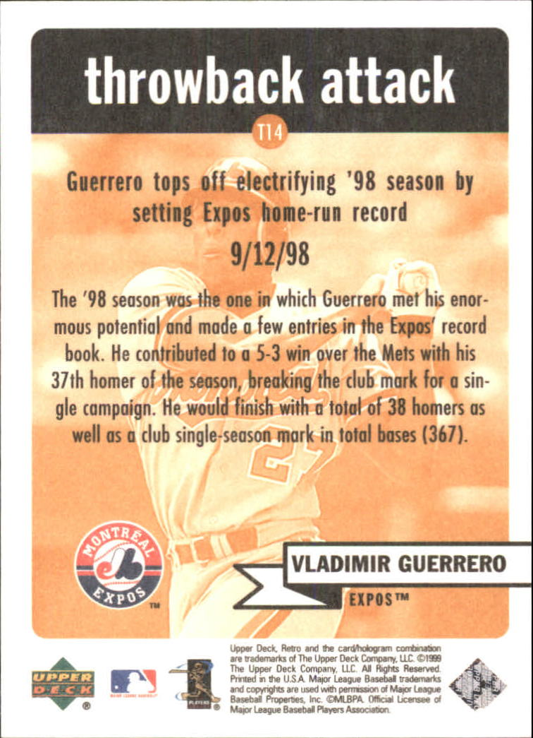 1999 Upper Deck Retro Throwback Attack #T14 Vladimir Guerrero back image