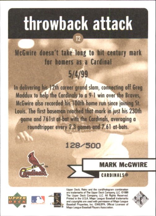 1999 Upper Deck Retro Throwback Attack Level 2 #T2 Mark McGwire back image