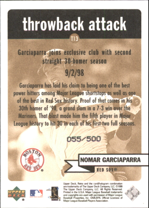 1999 Upper Deck Retro Throwback Attack Level 2 #T13 Nomar Garciaparra back image