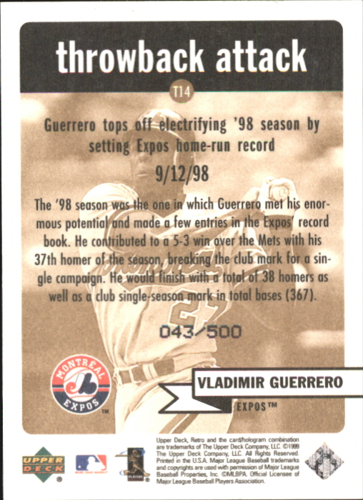 1999 Upper Deck Retro Throwback Attack Level 2 #T14 Vladimir Guerrero back image