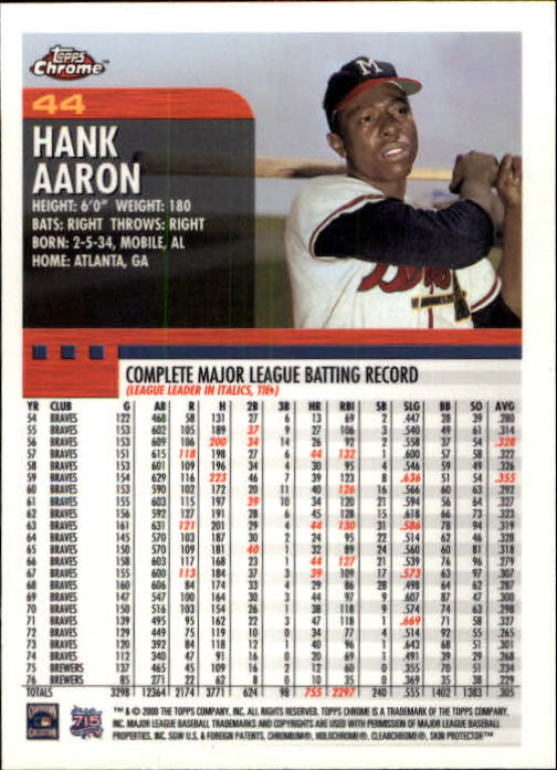 2000 Topps Chrome #44 Hank Aaron back image