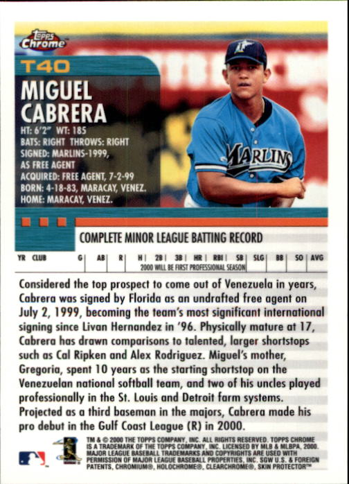 2000 Topps Chrome Traded #T40 Miguel Cabrera RC