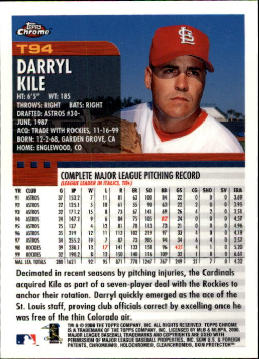 2000 Topps Chrome Traded #T94 Darryl Kile back image