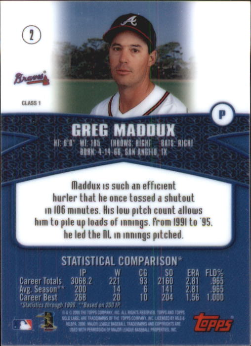 2000 Topps Gold Label Class 1 #2 Greg Maddux back image