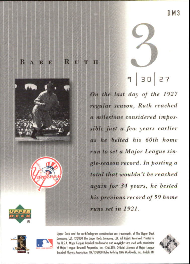 2000 Upper Deck Legends Defining Moments #DM3 Babe Ruth back image