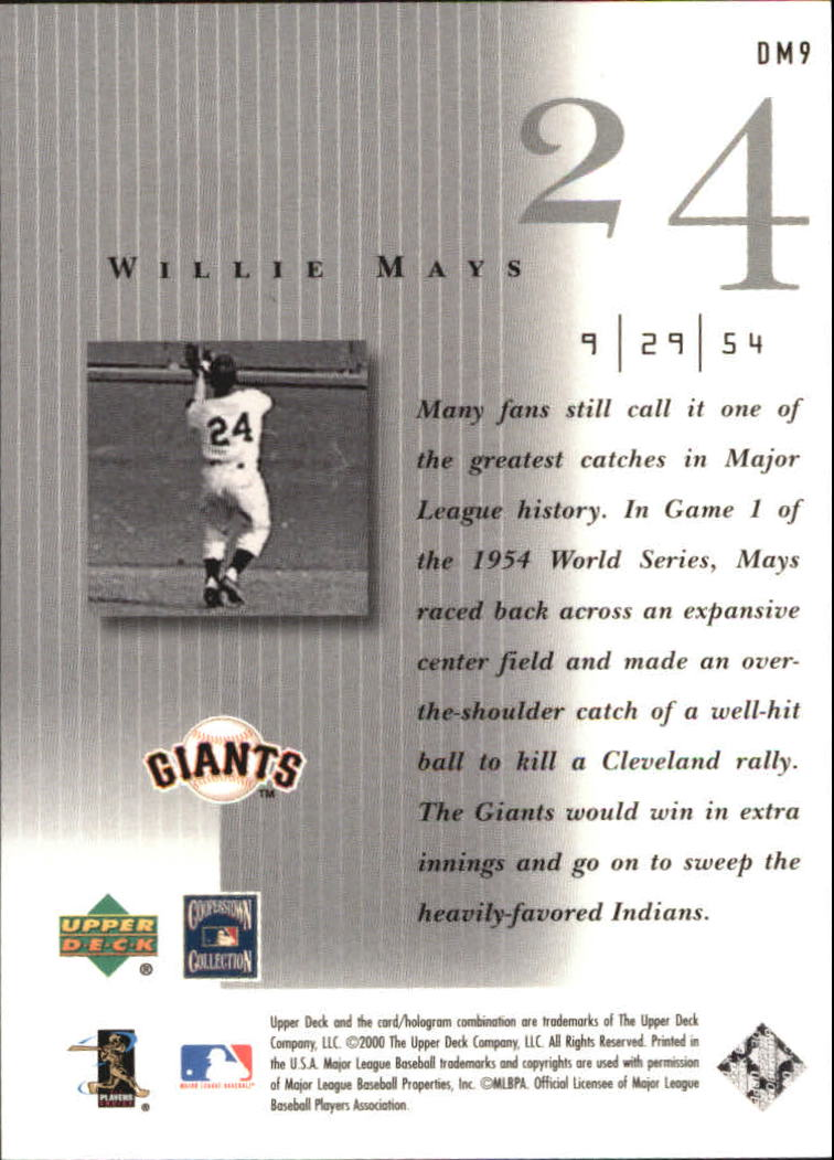 2000 Upper Deck Legends Defining Moments #DM9 Willie Mays back image