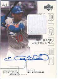 2000 Upper Deck Pros and Prospects Game Jersey Autograph #GS Gary Sheffield
