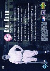 2000 Upper Deck Yankees Legends Monument Park #MP2 Babe Ruth back image
