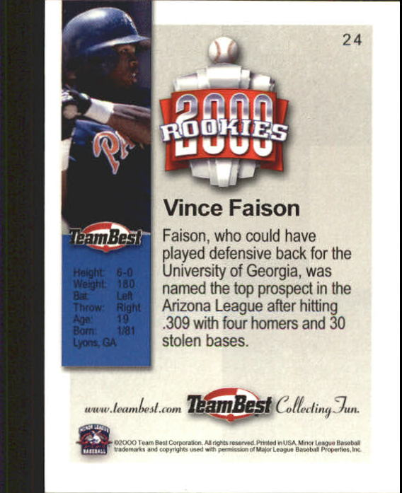 2000 Team Best Rookies #24 Vince Faison