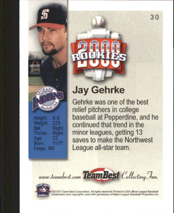 2000 Team Best Rookies #30 Jay Gehrke