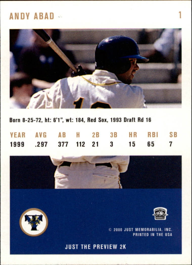 2000 Just #1 Andy Abad back image