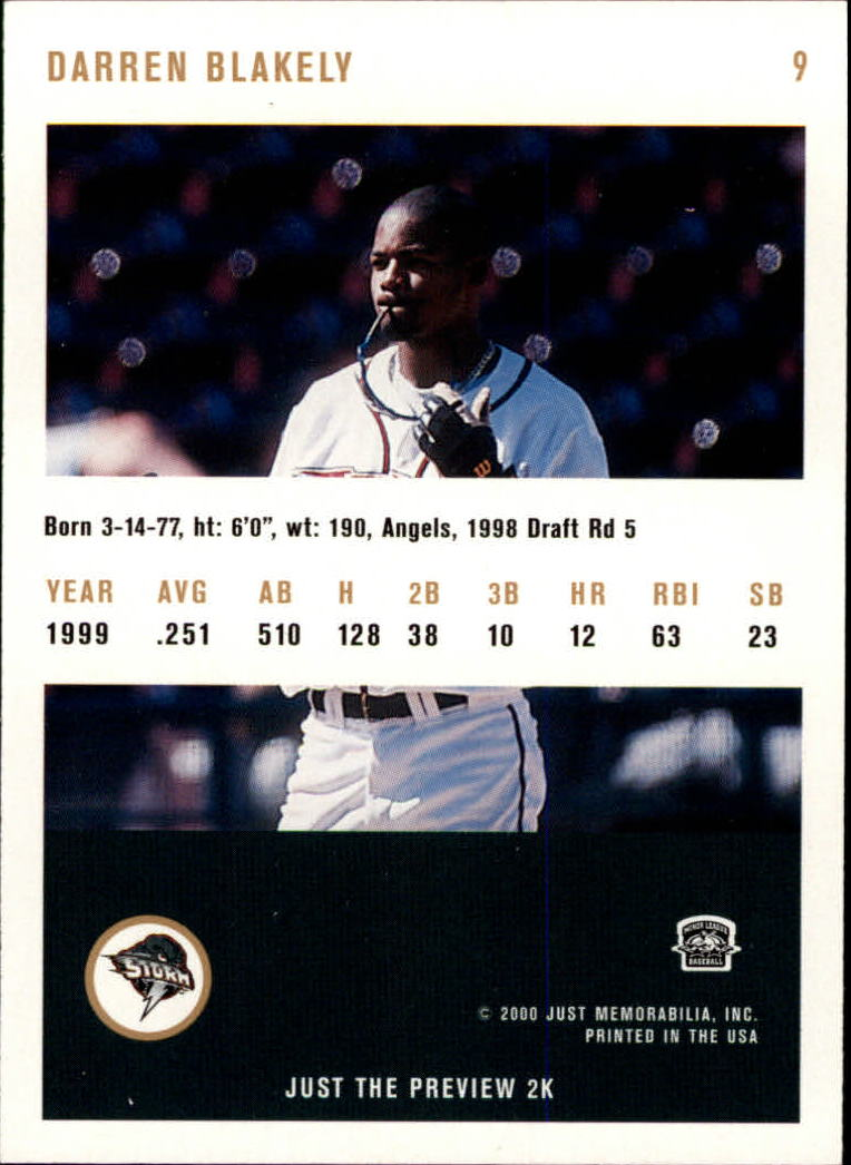 2000 Just #9 Darren Blakely back image