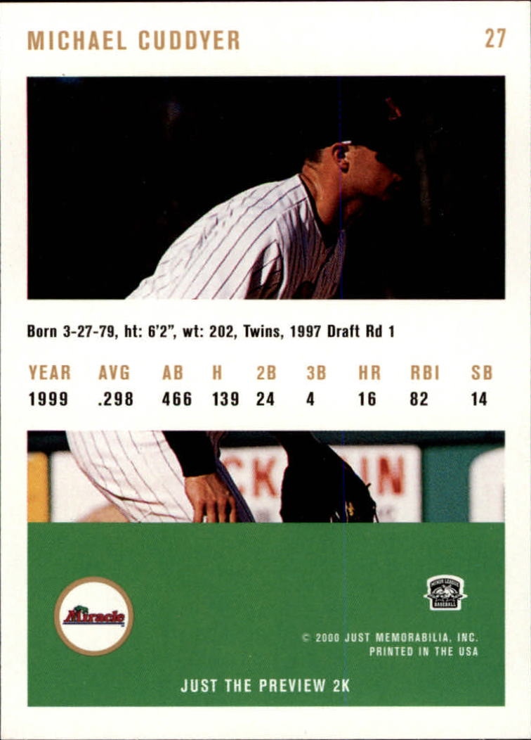 2000 Just #27 Michael Cuddyer back image
