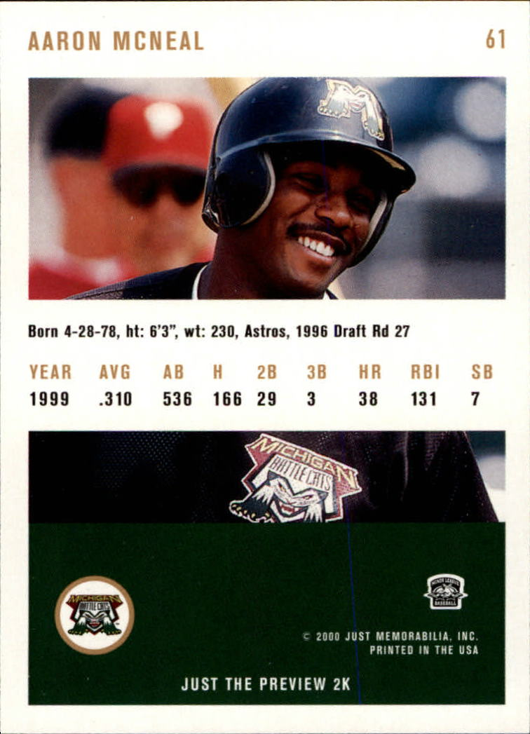 2000 Just #61 Aaron McNeal back image