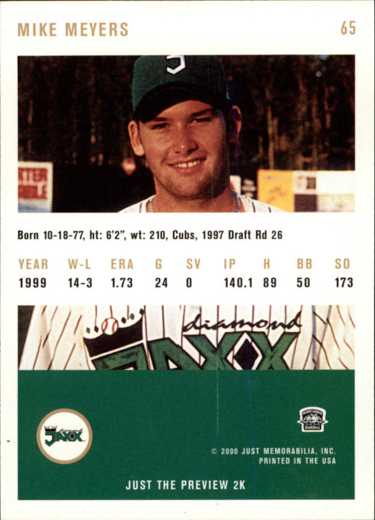 2000 Just #65 Mike Meyers back image