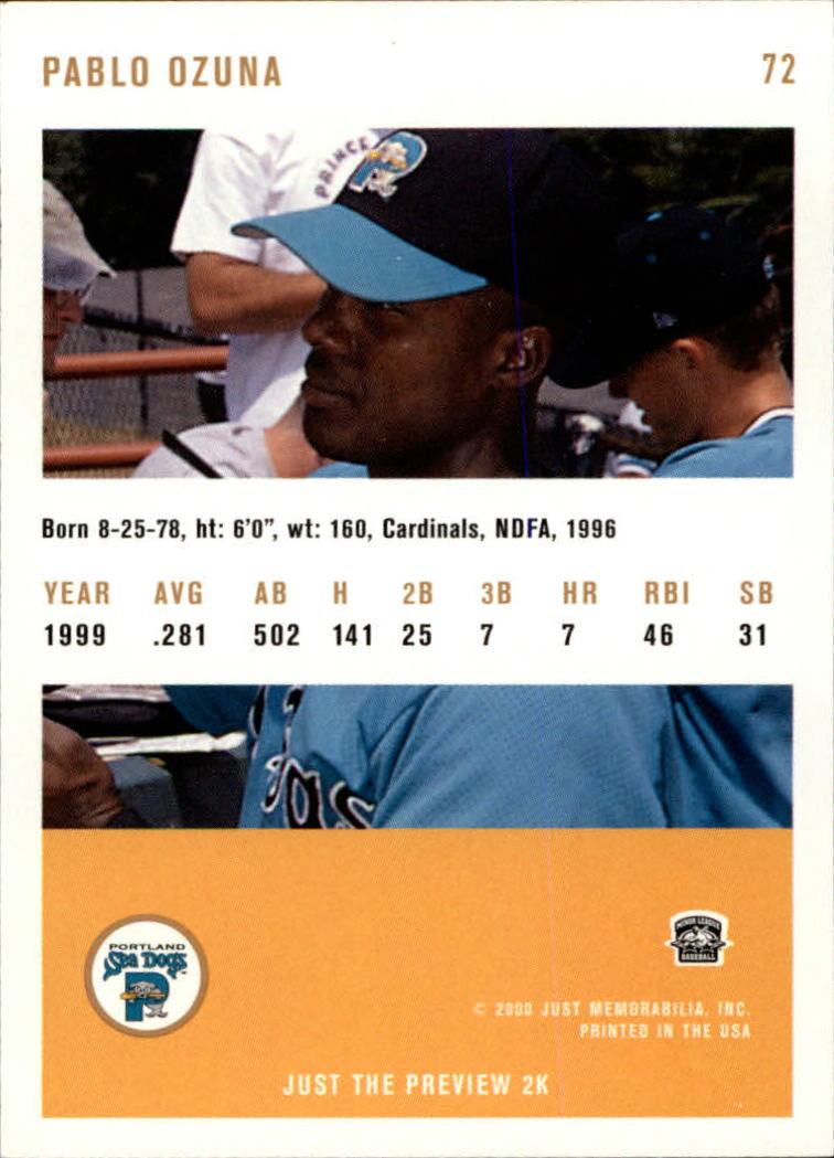 2000 Just #72 Pablo Ozuna back image
