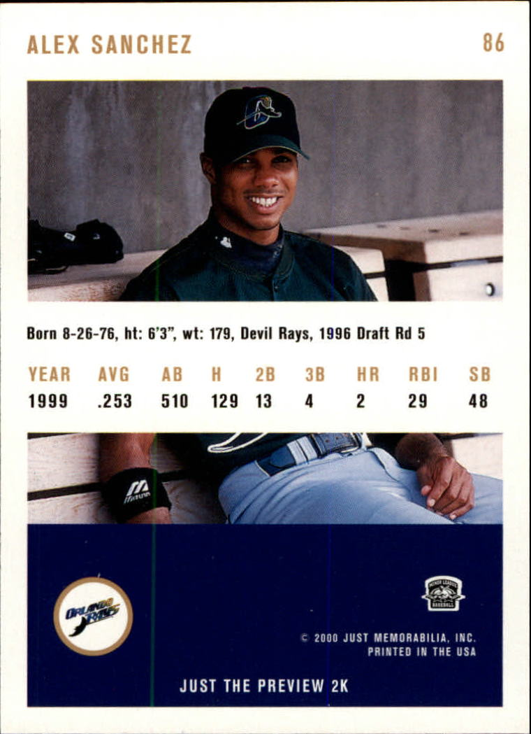 2000 Just #86 Alex Sanchez back image