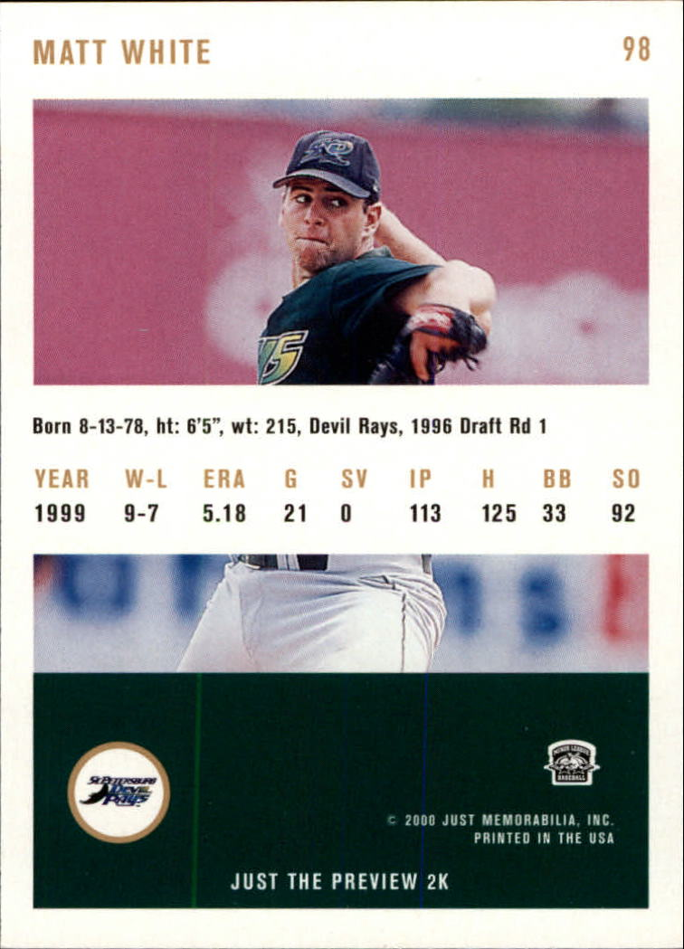 2000 Just #98 Matt White back image