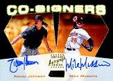 2000 Stadium Club Co-Signers #CO8 Randy Johnson/Mike Mussina C