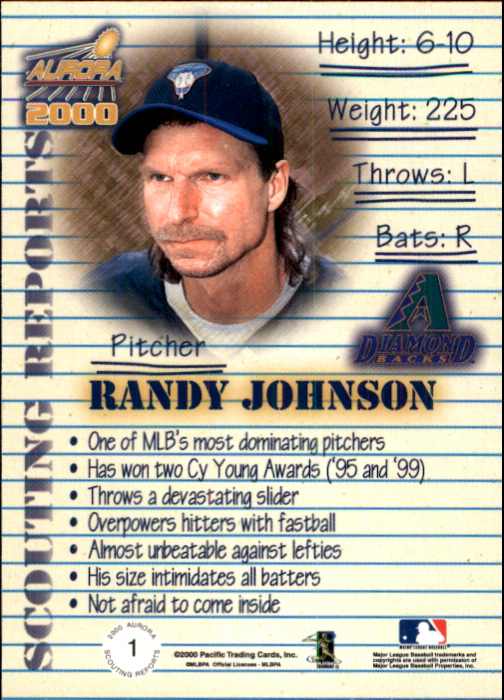 2000 Aurora Scouting Report #1 Randy Johnson back image