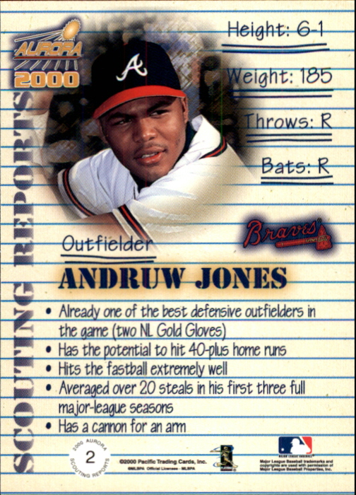 2000 Aurora Scouting Report #2 Andruw Jones back image
