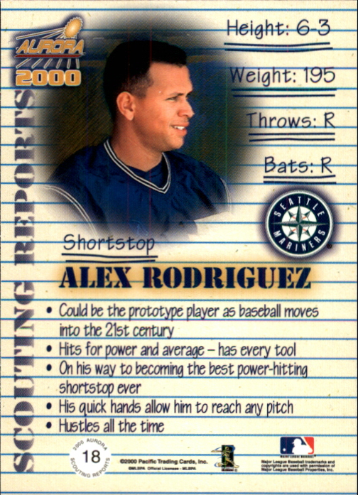 2000 Aurora Scouting Report #18 Alex Rodriguez back image