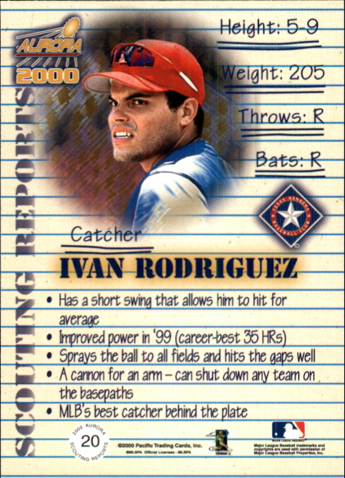 2000 Aurora Scouting Report #20 Ivan Rodriguez back image