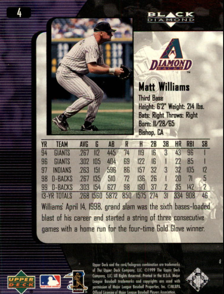 2000 Black Diamond #4 Matt Williams back image
