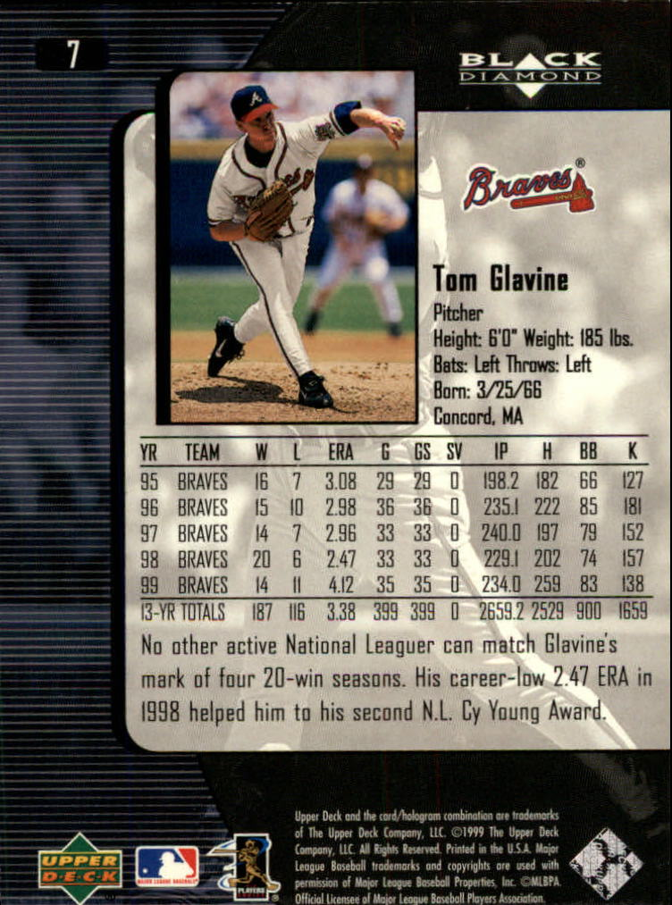2000 Black Diamond #7 Tom Glavine back image