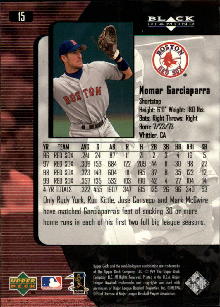 2000 Black Diamond #15 Nomar Garciaparra back image