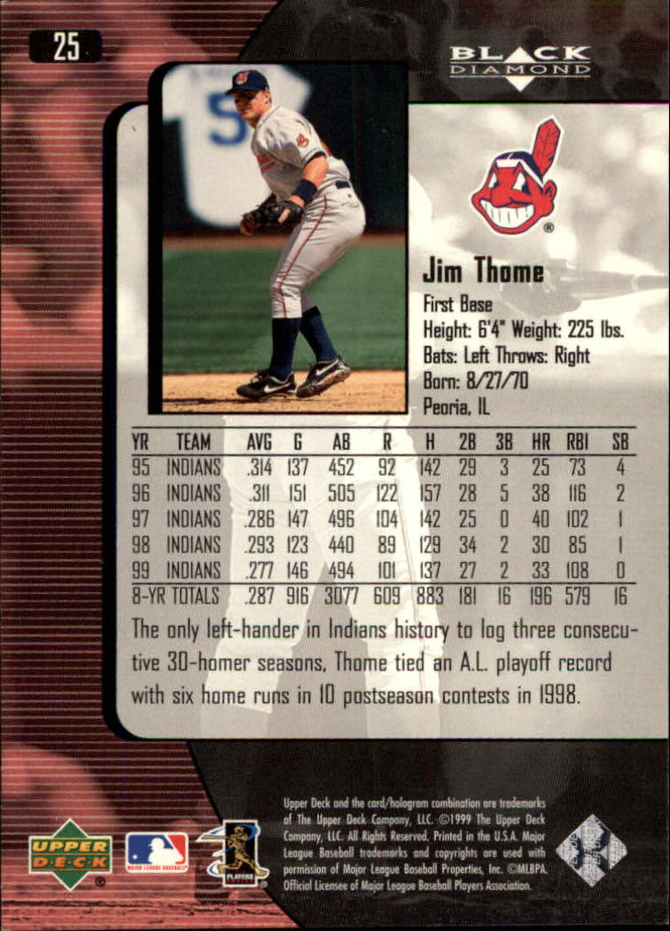 2000 Black Diamond #25 Jim Thome back image