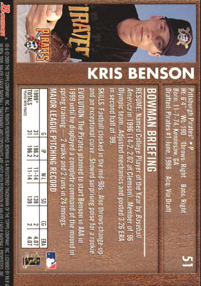 2000 Bowman Retro/Future #51 Kris Benson back image