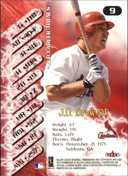 2000 Fleer Gamers #9 J.D. Drew back image
